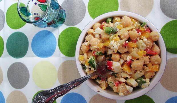 receta de Marruecos de ensalada de garbanzos