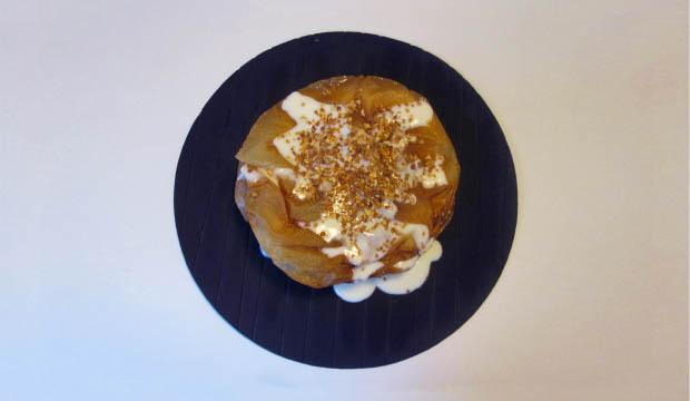 los ingredientes de la pastela dulce son masa brick, crocanti de almendras y salsa knaffa