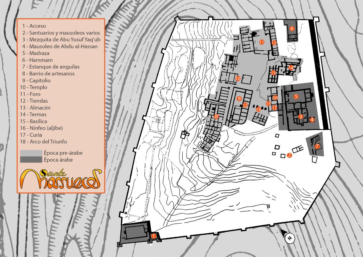 Mapa de la Necrópolis de Chellah