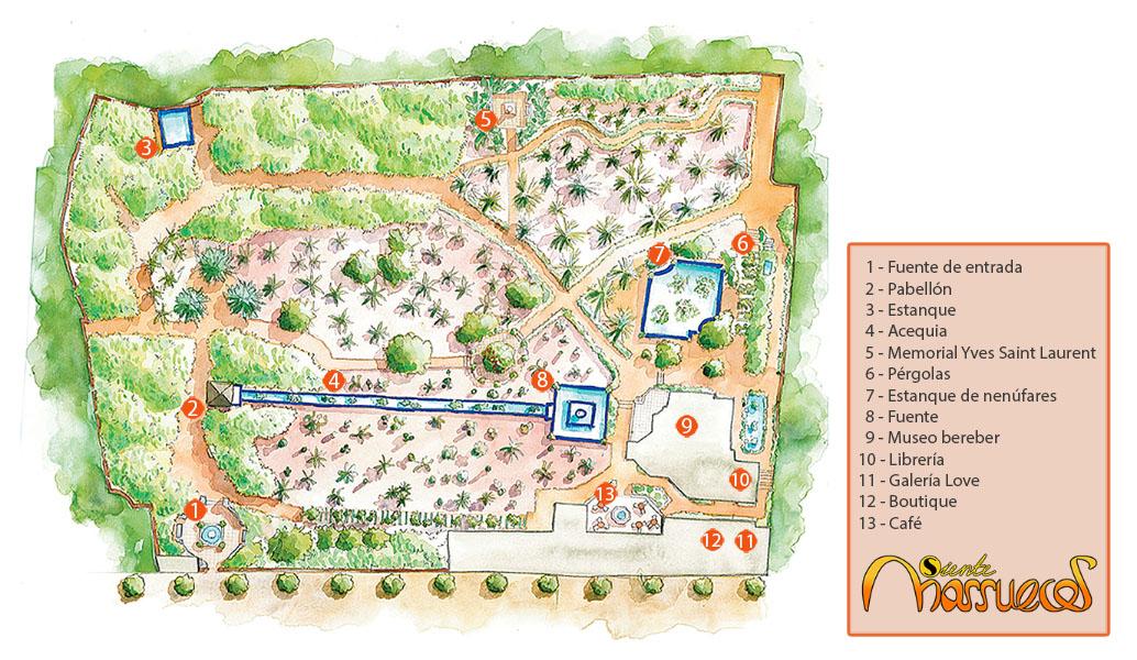 Mapa de los Jardín Majorelle en Marrakech, posteriormente restaurado por Yves Saint Lauren