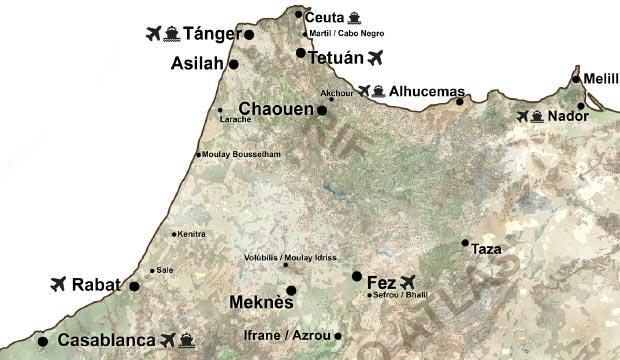 Mapa Marruecos ciudades. Mapa Marruecos turismo. Ciudades de marruecos mapa