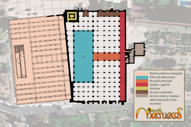 En el mapa de la mezquita koutoubia se pueden observar las diferentes partes que lo componen
