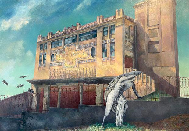 """Pintura del Gran Teatro Cervantes, con motivo de la publicación del libro """"Un escenario en ruinas. Llamamiento artístico-literario por la recuperación del Gran Teatro de Tánger"""""""