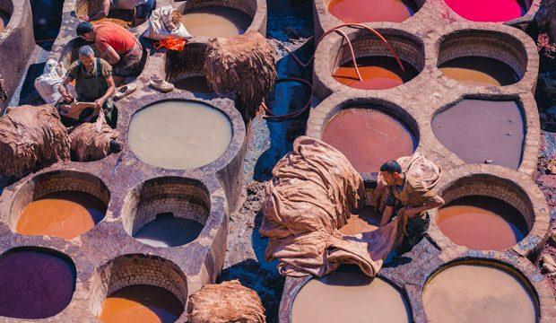 Curtidores de Fez. Curtiduría Chouara