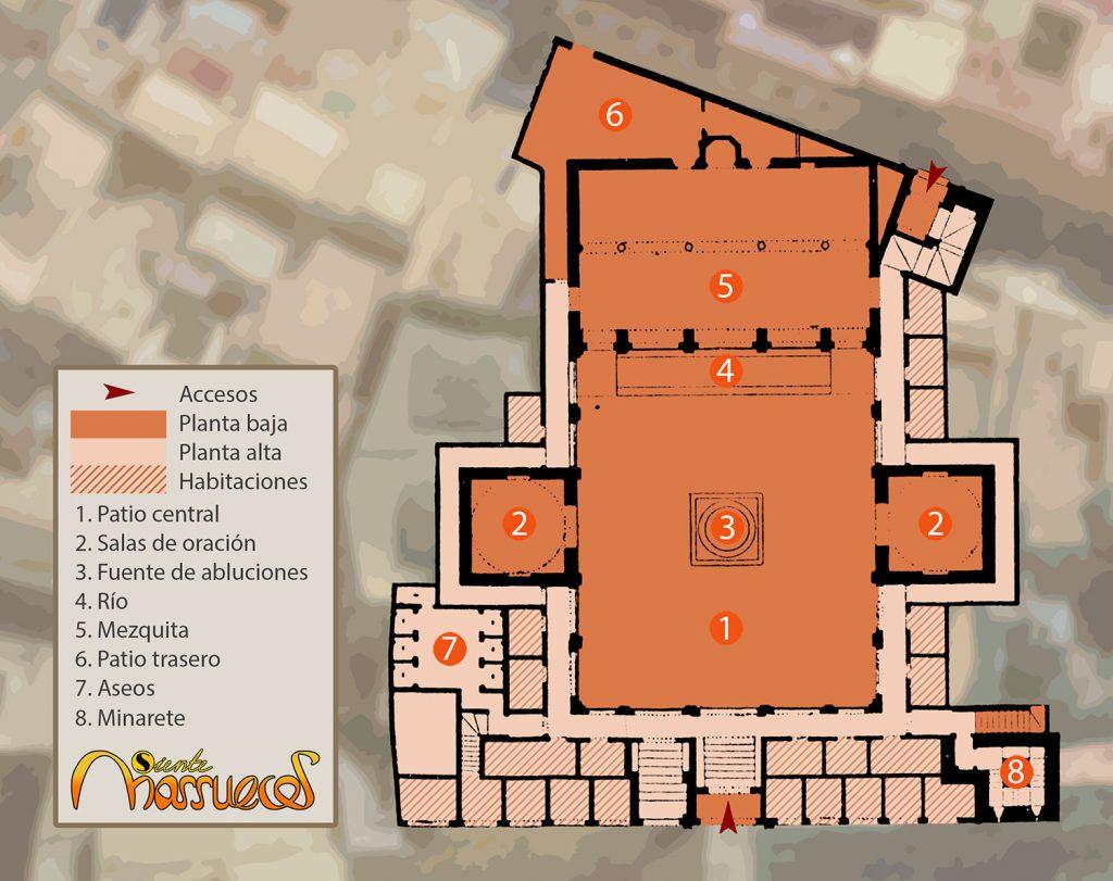 Plano de la Madraza de Bou Inania en Fez