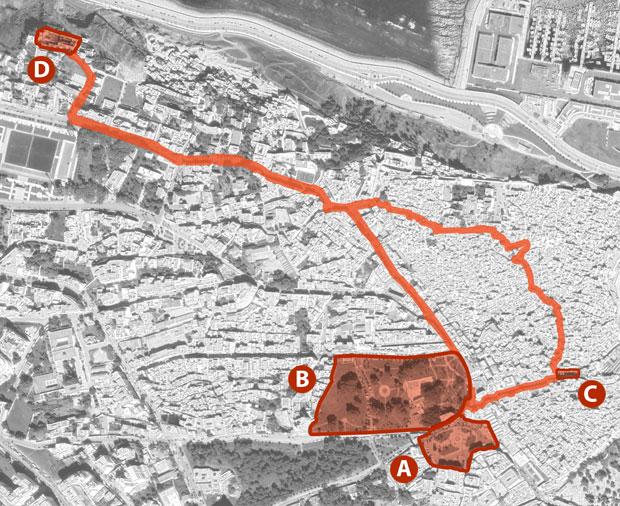 Mapa de acceso al cafe Hafa en Tánger