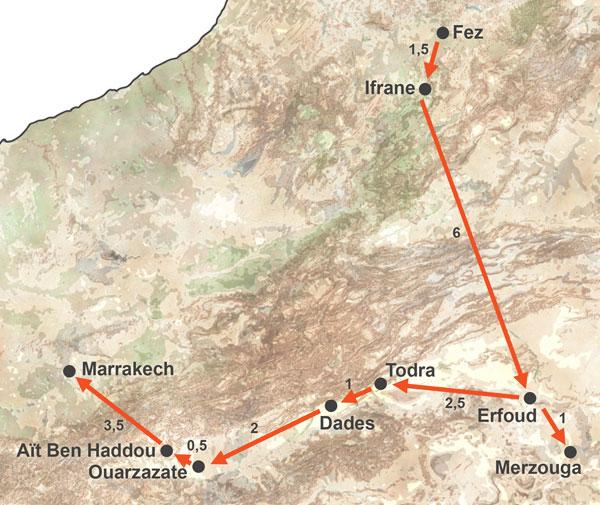 Excursión a Merzouga desde Fez con vuelta por Marrakech