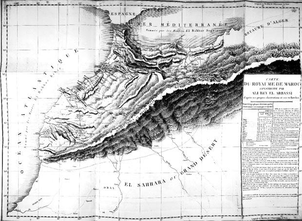 Un mapa de Voyages d'Ali Bey en Afrique et en Asie por Domingo Badía, más conocido como Ali Bey